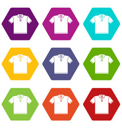 t-shirt icons set 9 vector image