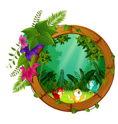 Three bird on round wood frame with forest scene vector