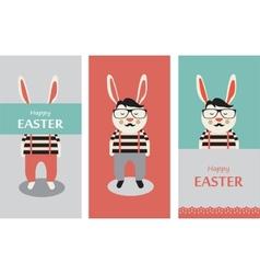 Three hipster rabbits vector