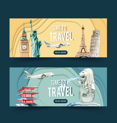Tourism day banner design with europe and asia vector