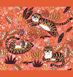 Tropical seamless pattern with funny tigers in vector