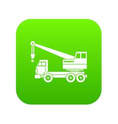 Truck crane icon digital green vector