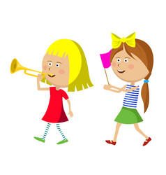 Two little girls marching with trumpet and flag vector