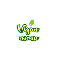 Vegan menu word font text typographic logo design vector