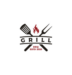 Vintage grill barbecue logo design vector