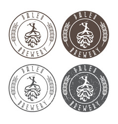vintage paleo brewery labels with hop and ancient vector image