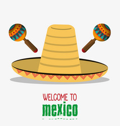 Welcome mexico hispanic travel tourism invitation vector