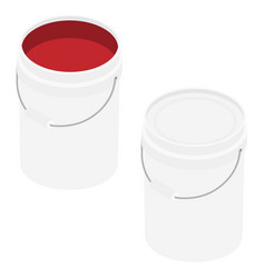 White plastic bucket set with red color paint vector