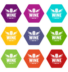 wine barrel icons set 9 vector image