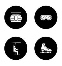 Winter activities glyph icons set vector