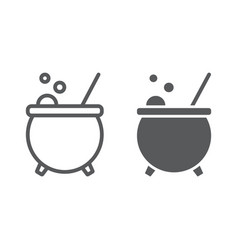 witch cauldron line and glyph icon magic vector image