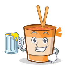 With juice cup noodles character cartoon vector