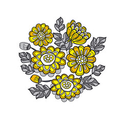 Yellow decorative stylized daisy floral vector
