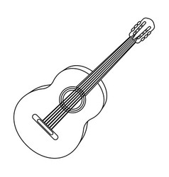 Yellow guitar hippy single icon in outline style vector