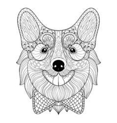 Zentangle Welsh Corgi with bow tie in monochrome vector