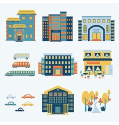 city infographics set with buildings and transport vector image vector image