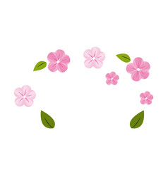 cute flowers with leaves decoration vector image vector image