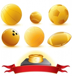 golden trophies vector image