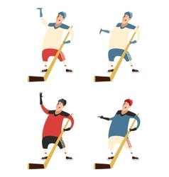Set of hockey players vector image