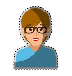 sticker colorful half body woman with short hair vector image vector image