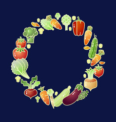 bright cartoon style vegetables organic food vector image