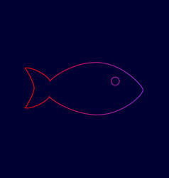 fish sign line icon with vector image