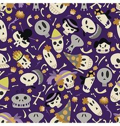 Halloween skulls pattern 01 vector image vector image