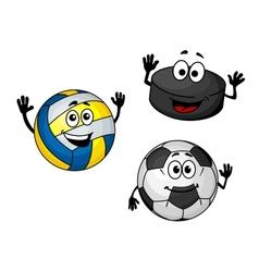 Hockey puck volleyball and soccer balls vector image