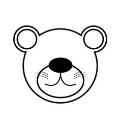 outline bear head animal vector image vector image