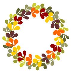 Pastel autumn laurel wreath frame on white vector