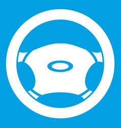 Steering wheel icon white vector
