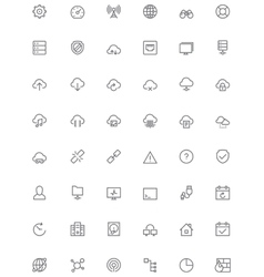 Network and cloud services icon set vector image vector image