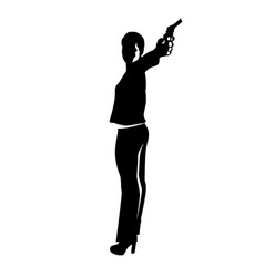 shooting girl silhouette vector image vector image