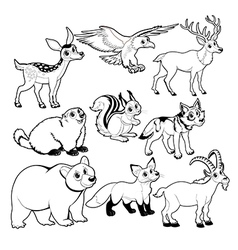 Wood and mountain animals in Black and white vector image vector image