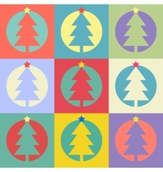 Christmas or Happy New Year tree flat design icon vector image