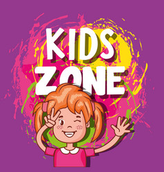 Kids zone poster icon vector