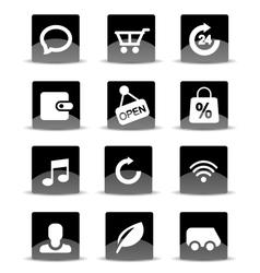 Modern black flat mobile app icon set vector image vector image
