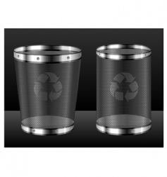 recycle bins with emblem vector image vector image