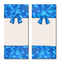 Set holiday cards with gift bows isolated vector image vector image