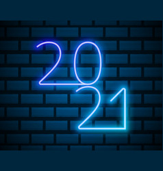 2021 neon text new year design template vector image