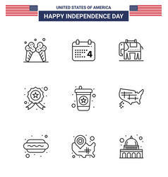 9 usa line signs independence day celebration vector