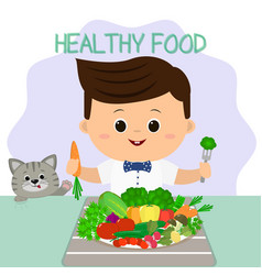 a boy in a bow tie at a table a plate of vector image