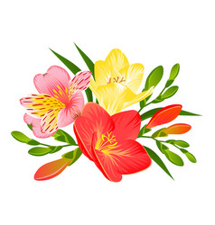 A tropical composition with flowers of vector