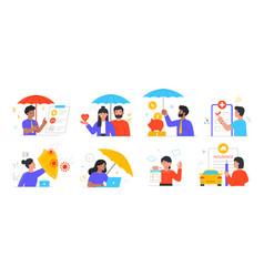 Accident insurance concept set vector