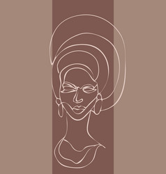 African girl one line drawing portrait vector