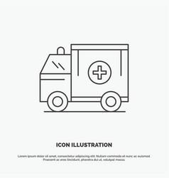 ambulance truck medical help van icon line gray vector image