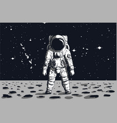 astronaut on rock surface with space background vector image