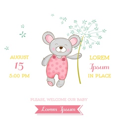 Baby shower or arrival card - mouse girl vector