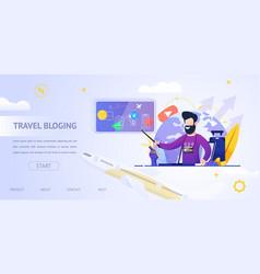 banner travel bloging video online vector image
