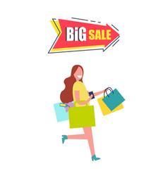 big sale arrow pointer with woman carrying bags vector image